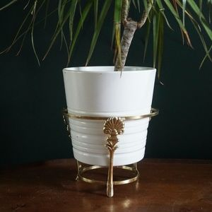 Vintage Accents - vtg art deco gold plant pot stand